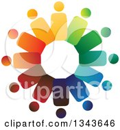 Clipart Of A Teamwork Unity Circle Of Colorful People 14 Royalty Free Vector Illustration