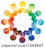 Clipart Of A Teamwork Unity Circle Of Colorful People 15 Royalty Free Vector Illustration