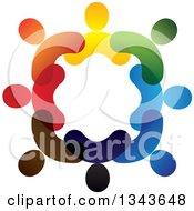 Clipart Of A Teamwork Unity Circle Of Colorful People 16 Royalty Free Vector Illustration
