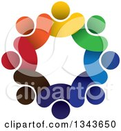 Clipart Of A Teamwork Unity Circle Of Colorful People 17 Royalty Free Vector Illustration