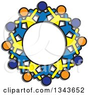 Clipart Of A Teamwork Unity Circle Of Blue Orange And Yellow People Cheering Royalty Free Vector Illustration