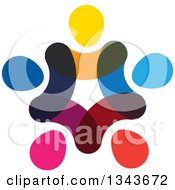 Clipart Of A Teamwork Unity Circle Of Abstract Colorful People 5 Royalty Free Vector Illustration