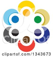 Clipart Of A Teamwork Unity Circle Of Colorful People Cheering Or Dancing 70 Royalty Free Vector Illustration