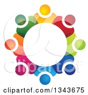 Clipart Of A Teamwork Unity Circle Of Colorful People 59 Royalty Free Vector Illustration