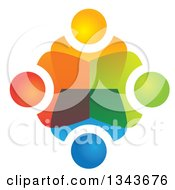 Clipart Of A Teamwork Unity Circle Of Colorful People 60 Royalty Free Vector Illustration