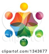 Clipart Of A Teamwork Unity Circle Of Colorful People 65 Royalty Free Vector Illustration
