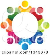 Clipart Of A Teamwork Unity Circle Of Colorful People 55 Royalty Free Vector Illustration