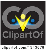 Clipart Of A Blue And Yellow Trio Of People Dancing Or Cheering Over Black Royalty Free Vector Illustration
