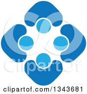 Clipart Of A Teamwork Unity Circle Of Blue People Cheering Or Dancing 8 Royalty Free Vector Illustration