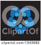 Clipart Of A Teamwork Unity Circle Of Blue People Cheering Or Dancing On Black 9 Royalty Free Vector Illustration