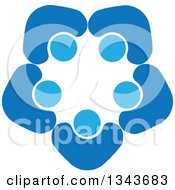 Clipart Of A Teamwork Unity Circle Of Blue People Cheering Or Dancing 9 Royalty Free Vector Illustration