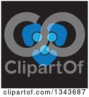 Clipart Of A Teamwork Unity Circle Of Blue People Cheering Or Dancing On Black 7 Royalty Free Vector Illustration