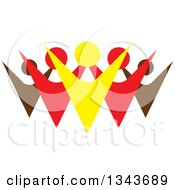 Clipart Of A Teamwork Unity Group Of Colorful People Cheering 9 Royalty Free Vector Illustration