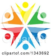 Clipart Of A Teamwork Unity Circle Of Colorful People Cheering Or Dancing 63 Royalty Free Vector Illustration