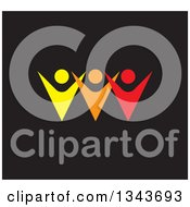 Clipart Of A Teamwork Unity Group Of Colorful People Cheering Over Black Royalty Free Vector Illustration