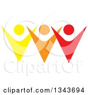 Clipart Of A Teamwork Unity Group Of Colorful People Cheering 8 Royalty Free Vector Illustration