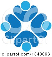 Clipart Of A Teamwork Unity Circle Of Blue People Cheering Or Dancing 4 Royalty Free Vector Illustration