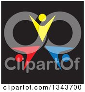 Clipart Of A Teamwork Unity Circle Of Colorful People Cheering Or Dancing Over Black 4 Royalty Free Vector Illustration