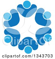Clipart Of A Teamwork Unity Circle Of Blue People Cheering Or Dancing 6 Royalty Free Vector Illustration