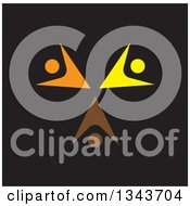 Clipart Of A Teamwork Unity Circle Of Colorful People Cheering Or Dancing Over Black 3 Royalty Free Vector Illustration
