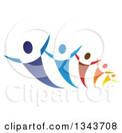 Clipart Of A Group Of Blue Red Orange And Yellow People Dancing Or Cheering Royalty Free Vector Illustration