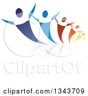Clipart Of A Group Of Blue Red Orange And Yellow People Dancing Or Cheering With Reflections Royalty Free Vector Illustration