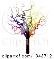Clipart Of A Funky Colorful Bare Tree 2 Royalty Free Vector Illustration