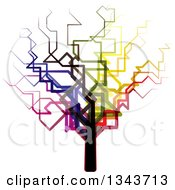 Clipart Of A Funky Colorful Bare Tree Royalty Free Vector Illustration