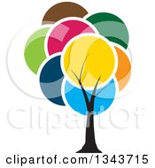 Clipart Of A Tree With A Canopy Of Colorful Circles Royalty Free Vector Illustration by ColorMagic #COLLC1343715-0187