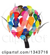 Clipart Of A Tree With A Colorful Light Bulb Canopy Royalty Free Vector Illustration