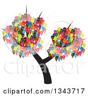 Clipart Of A Tree With Colorful Light Bulbs Royalty Free Vector Illustration