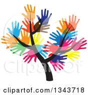 Clipart Of A Tree With A Canopy Of Colorful Hands Royalty Free Vector Illustration by ColorMagic