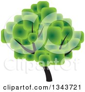 Clipart Of A Tree With A Canopy Made Of Green Squares Royalty Free Vector Illustration by ColorMagic