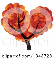 Clipart Of A Tree With A Gradient Orange Speech Balloon Canopy Royalty Free Vector Illustration