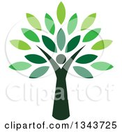 Clipart Of A Woman Forming The Trunk Of A Tree With Green Leaves Royalty Free Vector Illustration by ColorMagic