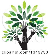 Clipart Of Black Silhouetted Hands And Arms Forming The Trunk Of A Tree With Green Leaves Royalty Free Vector Illustration