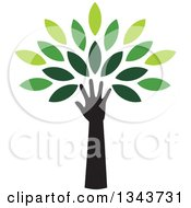 Clipart Of A Black Silhouetted Hand And Arm Forming The Trunk Of A Tree With Green Leaves Royalty Free Vector Illustration by ColorMagic #COLLC1343731-0187