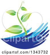 Clipart Of Blue Nurturing Hands Holding A Green Vine Royalty Free Vector Illustration