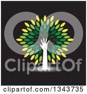 Clipart Of A White Silhouetted Hand And Arm Forming The Trunk Of A Tree With Green Leaves On Black Royalty Free Vector Illustration