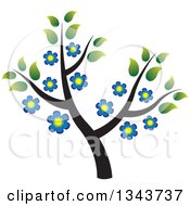 Clipart Of A Tree With Green Leaves And Blue Flowers Royalty Free Vector Illustration