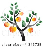 Clipart Of A Tree With Ripe Apricots Royalty Free Vector Illustration by ColorMagic