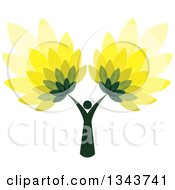 Clipart Of A Dark Green Woman Forming The Trunk Of A Tree With Green And Yellow Leaves Royalty Free Vector Illustration