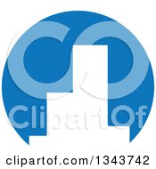 Clipart Of White Silhouetted City Skyscraper Buildings In A Blue Circle Royalty Free Vector Illustration by ColorMagic