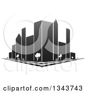 Clipart Of A City Street Corner With Grayscale Skyscraper Buildings And Trees Royalty Free Vector Illustration