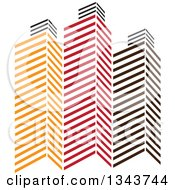 Clipart Of Red Orange And Black City Skyscraper Buildings 4 Royalty Free Vector Illustration by ColorMagic