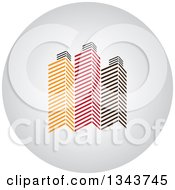 Clipart Of A Shaded Circle App Icon Button Design Element With Skyscrapers 2 Royalty Free Vector Illustration by ColorMagic