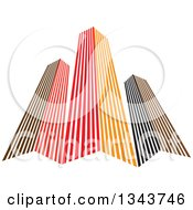 Clipart Of Red Orange And Black City Skyscraper Buildings 3 Royalty Free Vector Illustration by ColorMagic