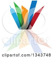 Clipart Of A Colorful City With Tall Skyscraper Buildings And Reflections Royalty Free Vector Illustration by ColorMagic