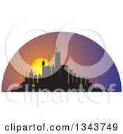 Clipart Of A Silhouetted City Skyscraper Skyline With A Setting Sun Royalty Free Vector Illustration by ColorMagic
