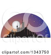Clipart Of A Silhouetted City Skyscraper Skyline With A Full Moon Royalty Free Vector Illustration by ColorMagic